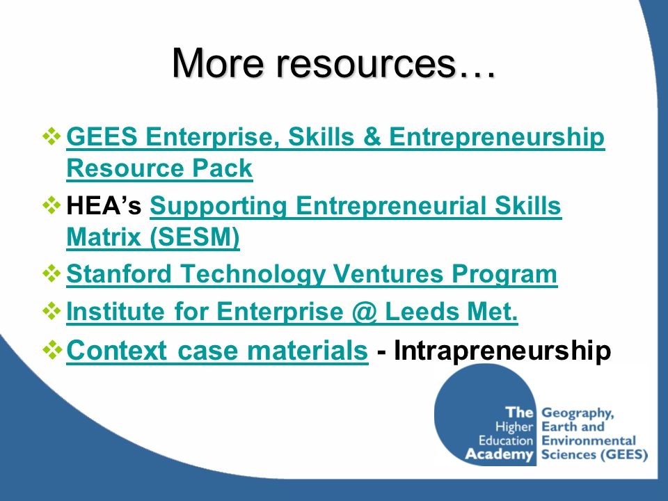 More resources… Context case materials - Intrapreneurship