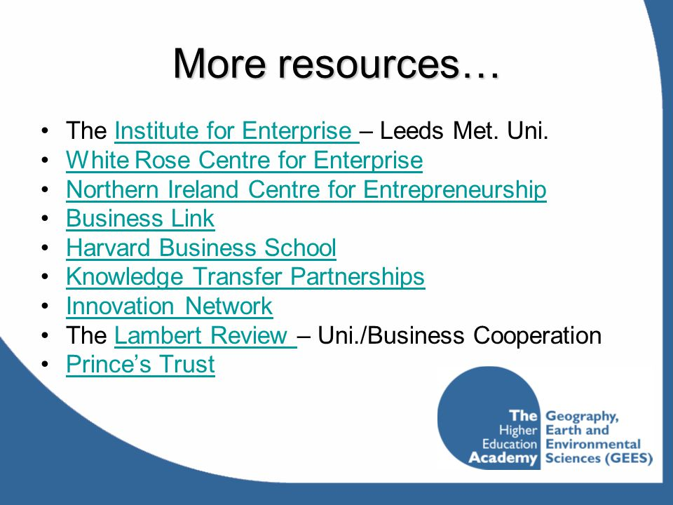 More resources… The Institute for Enterprise – Leeds Met. Uni.