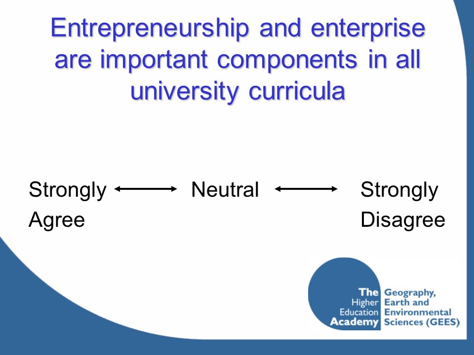 Entrepreneurship and enterprise are important components in all university curricula