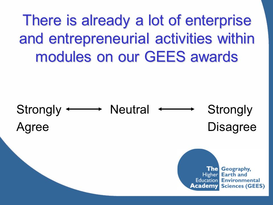 There is already a lot of enterprise and entrepreneurial activities within modules on our GEES awards