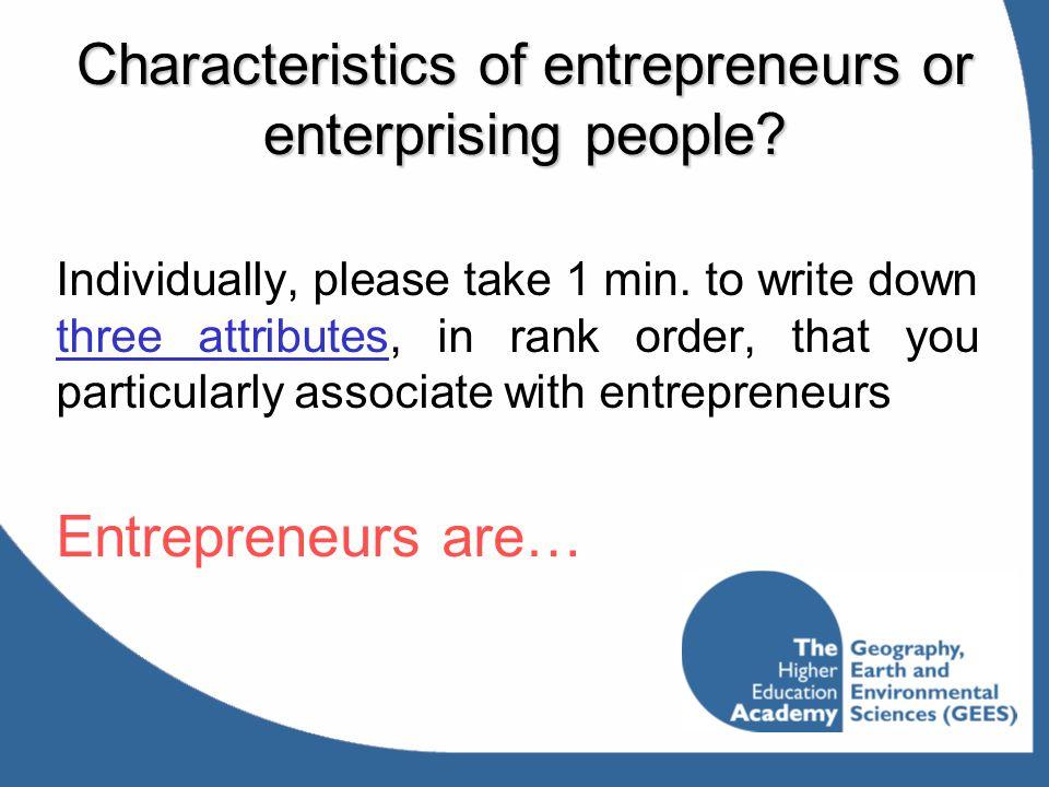 Characteristics of entrepreneurs or enterprising people