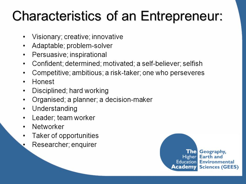 Characteristics of an Entrepreneur: