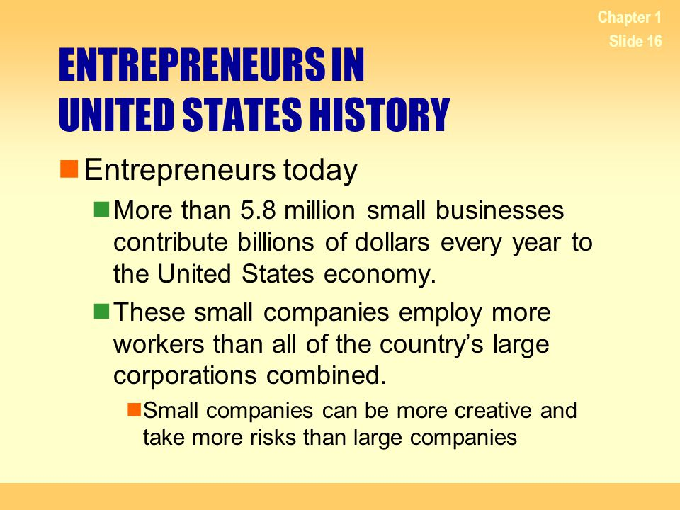 ENTREPRENEURS IN UNITED STATES HISTORY