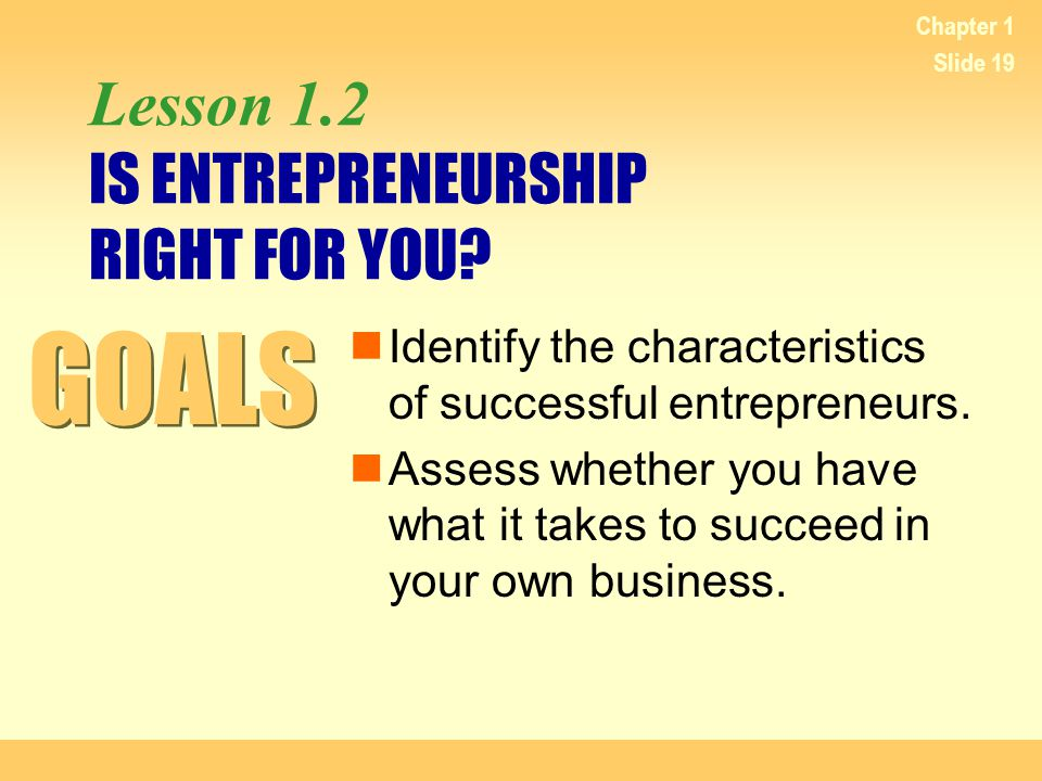 Lesson 1.2 IS ENTREPRENEURSHIP RIGHT FOR YOU
