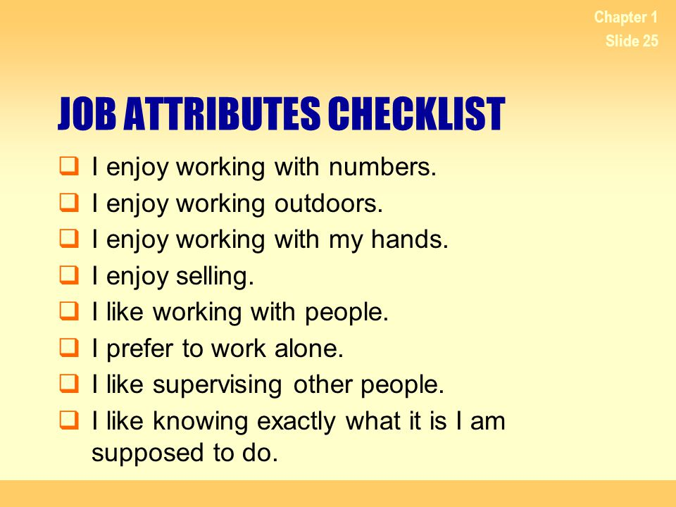JOB ATTRIBUTES CHECKLIST