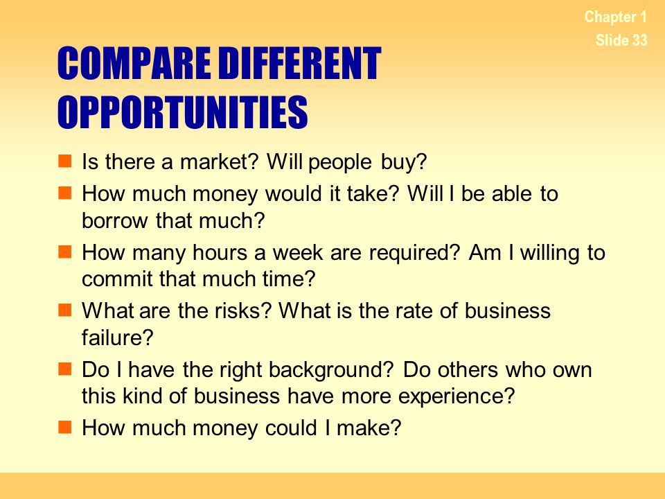 COMPARE DIFFERENT OPPORTUNITIES