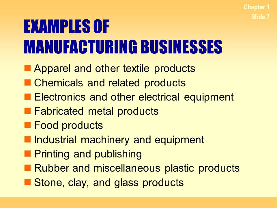 EXAMPLES OF MANUFACTURING BUSINESSES