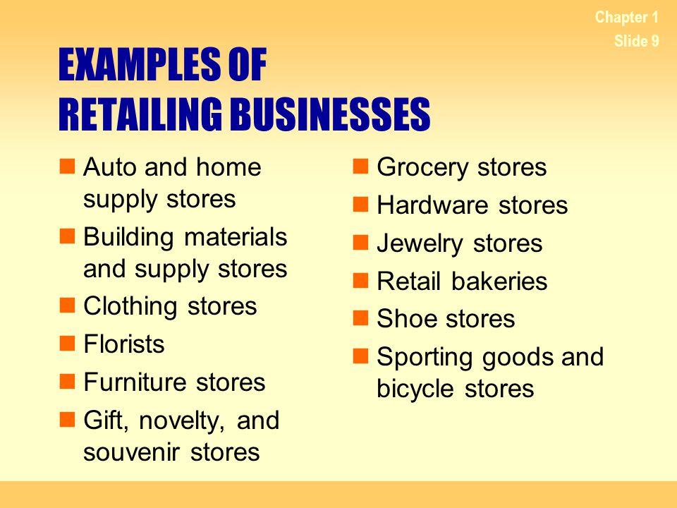 EXAMPLES OF RETAILING BUSINESSES