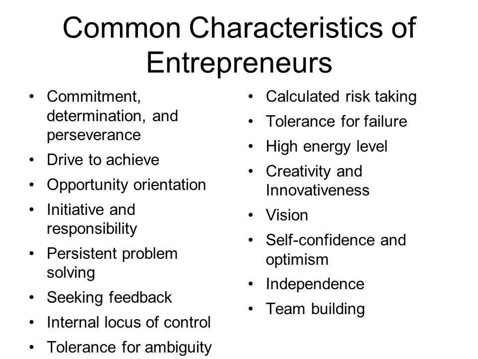 Common Characteristics of Entrepreneurs