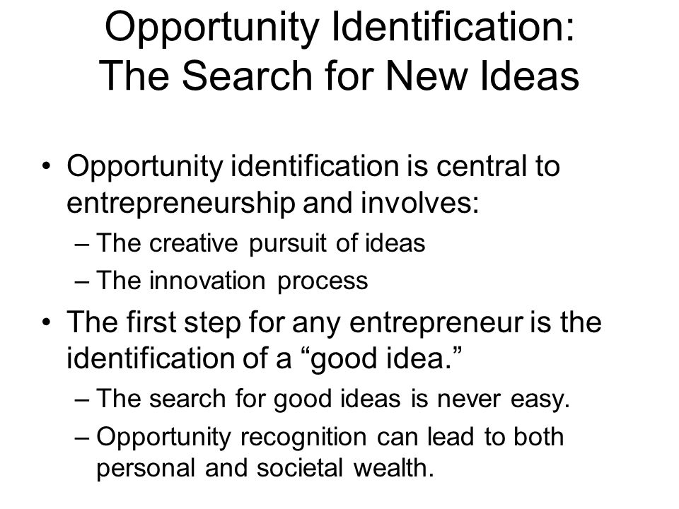 Opportunity Identification: The Search for New Ideas
