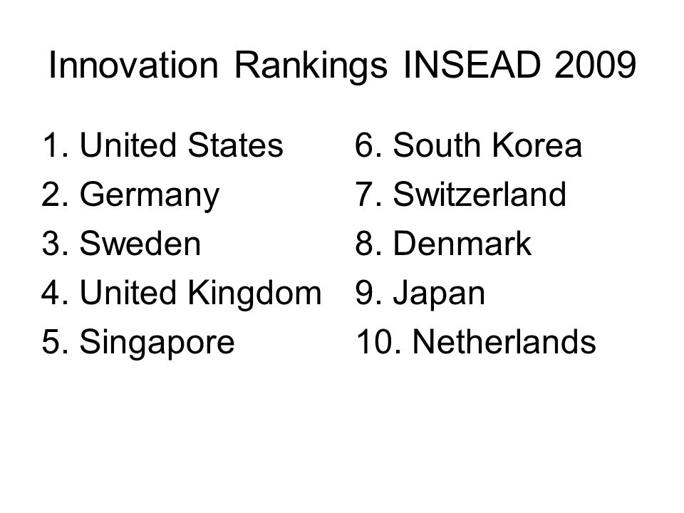 Innovation Rankings INSEAD 2009