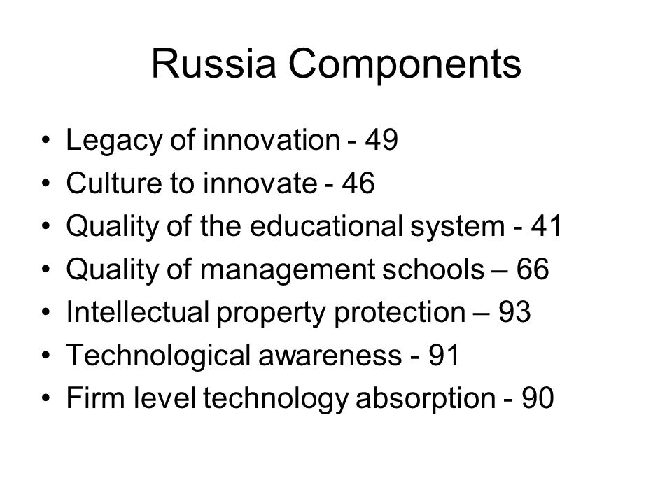 Russia Components Legacy of innovation - 49 Culture to innovate - 46