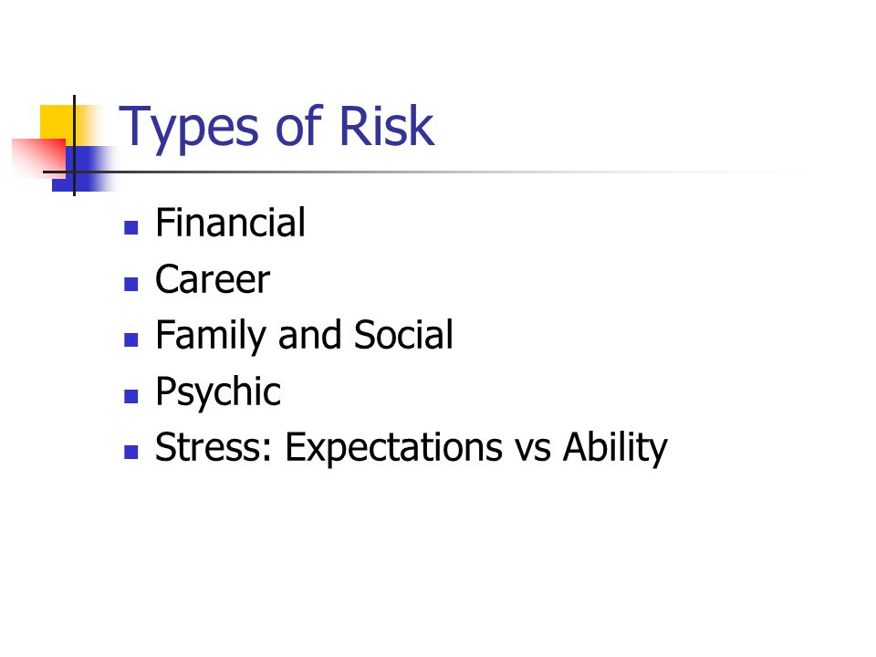 Types of Risk Financial Career Family and Social Psychic