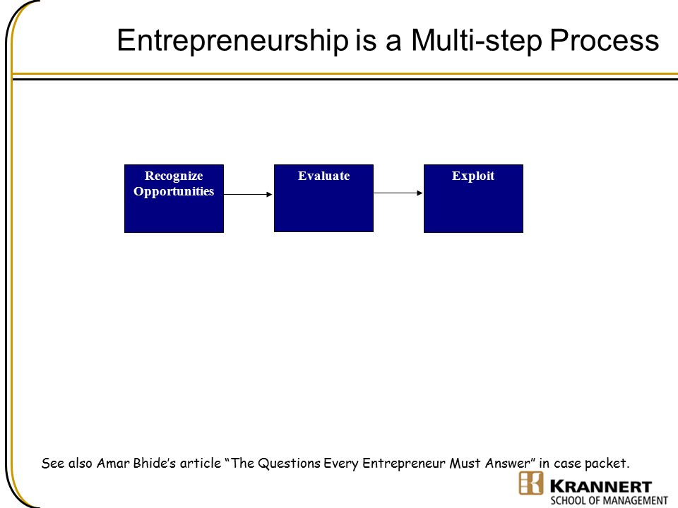 Entrepreneurship is a Multi-step Process