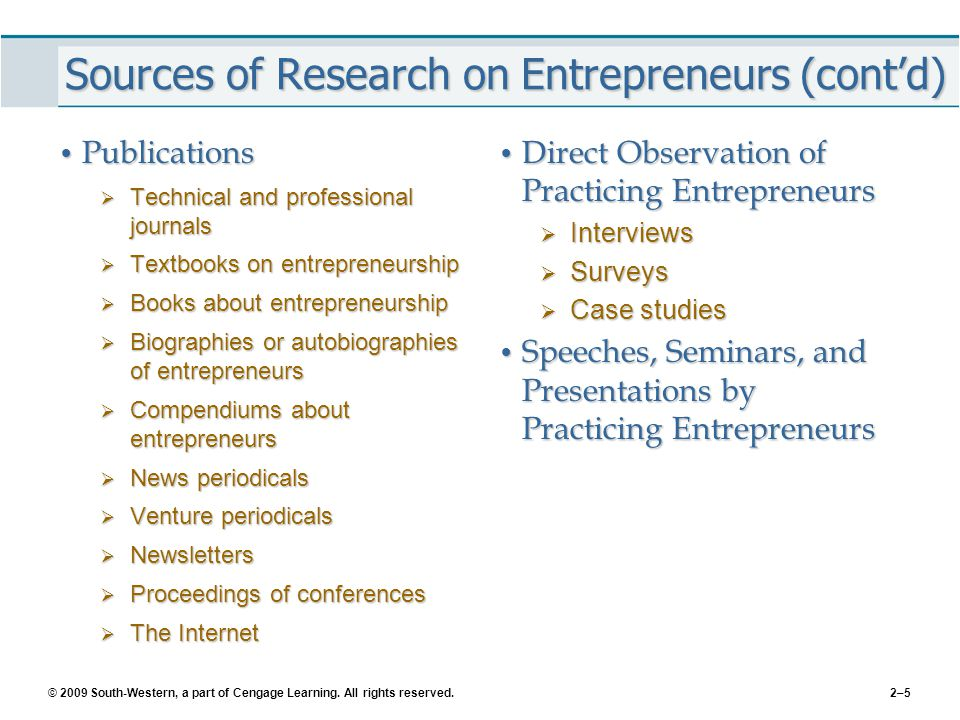 Sources of Research on Entrepreneurs (cont'd)