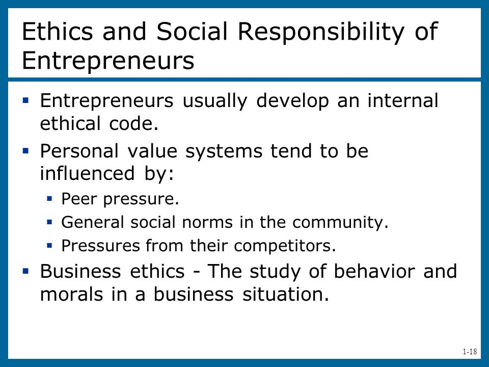 Ethics and Social Responsibility of Entrepreneurs