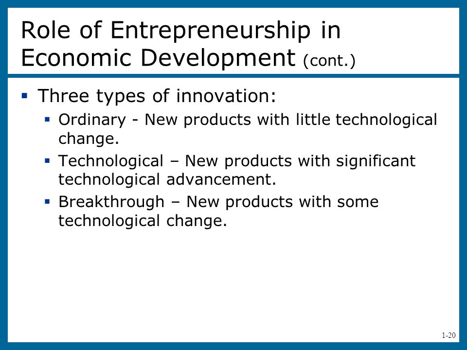 Role of Entrepreneurship in Economic Development (cont.)