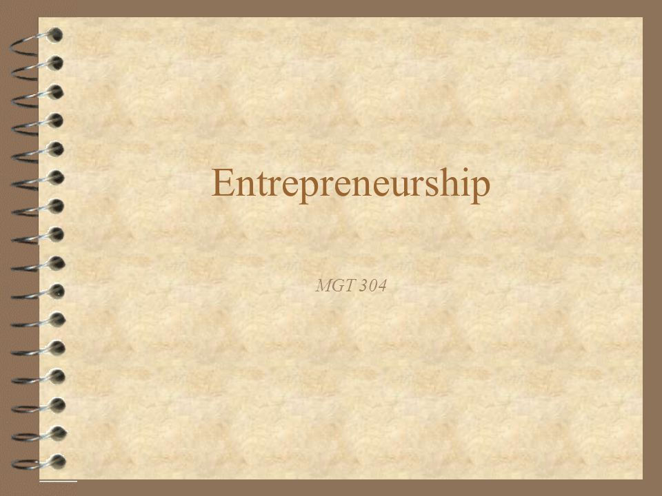 Entrepreneurship MGT 304