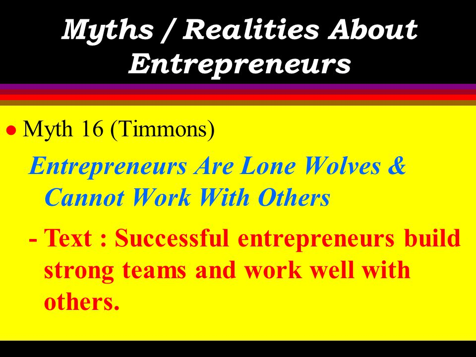 Myths / Realities About Entrepreneurs