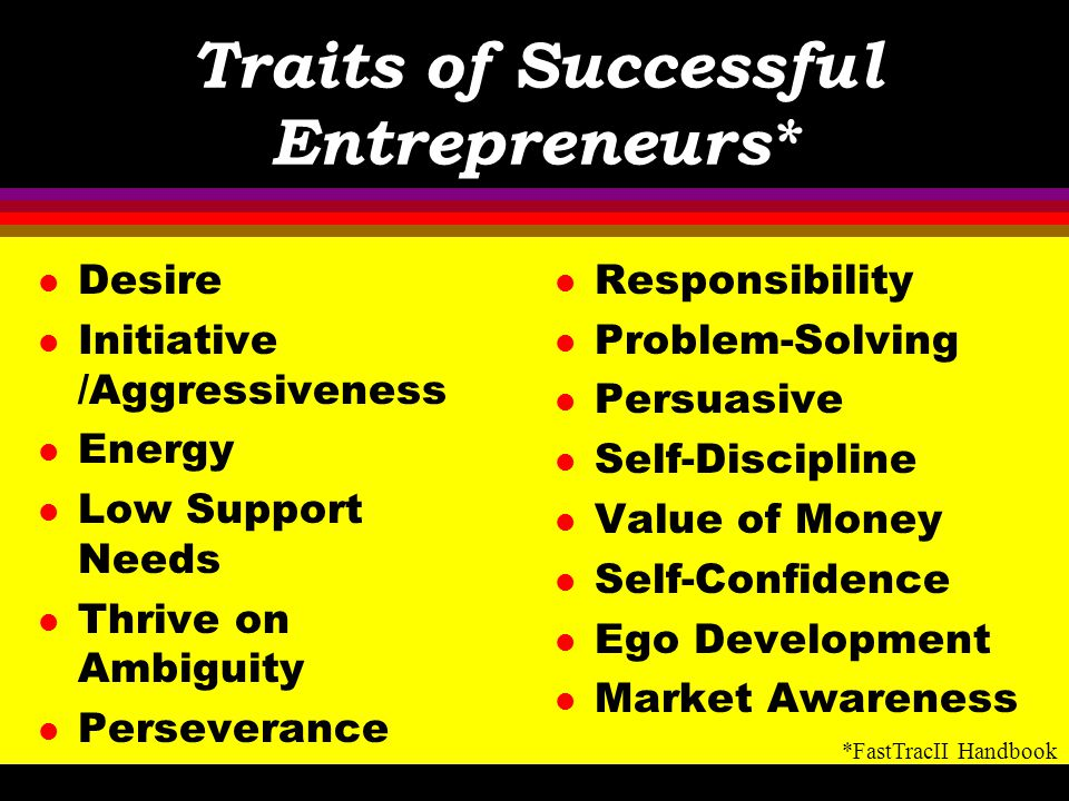 Traits of Successful Entrepreneurs*