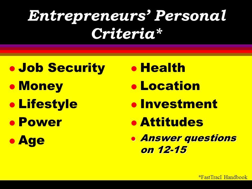 Entrepreneurs' Personal Criteria*
