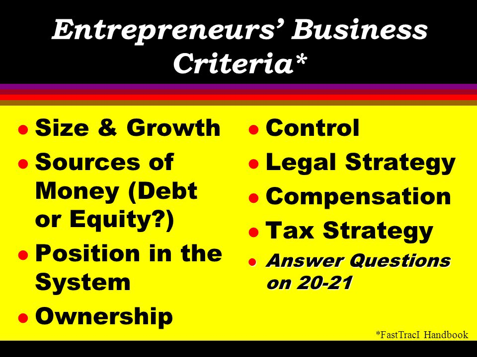 Entrepreneurs' Business Criteria*