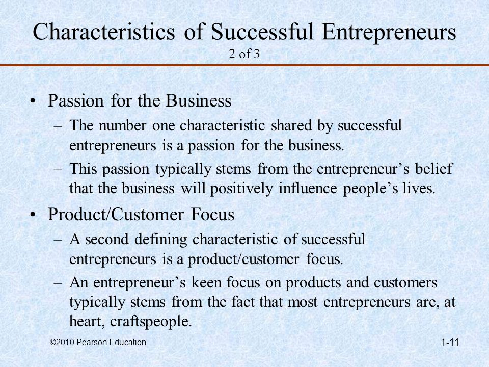 Characteristics of Successful Entrepreneurs 2 of 3