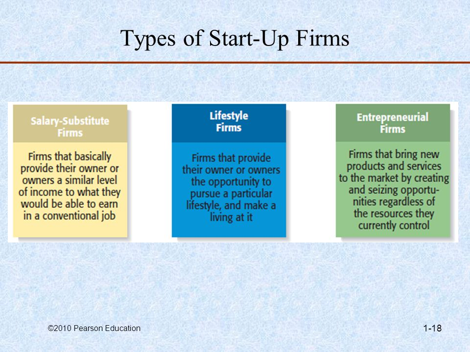 Types of Start-Up Firms