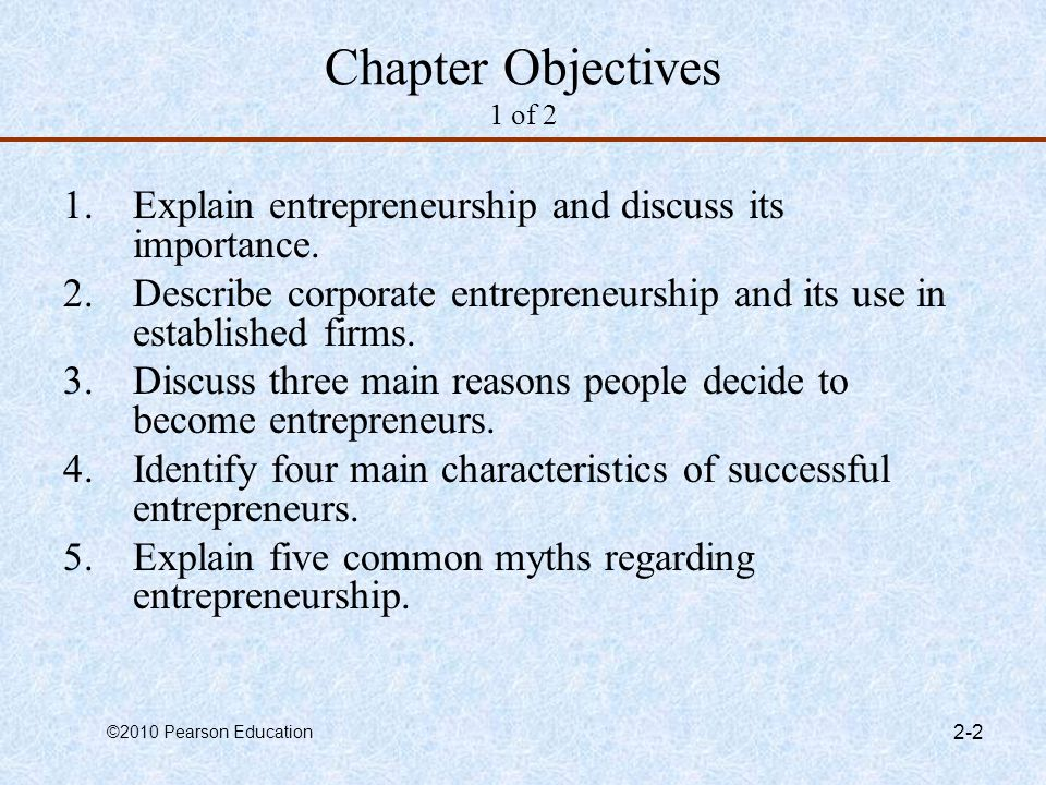 Chapter Objectives 1 of 2 Explain entrepreneurship and discuss its importance. Describe corporate entrepreneurship and its use in established firms.