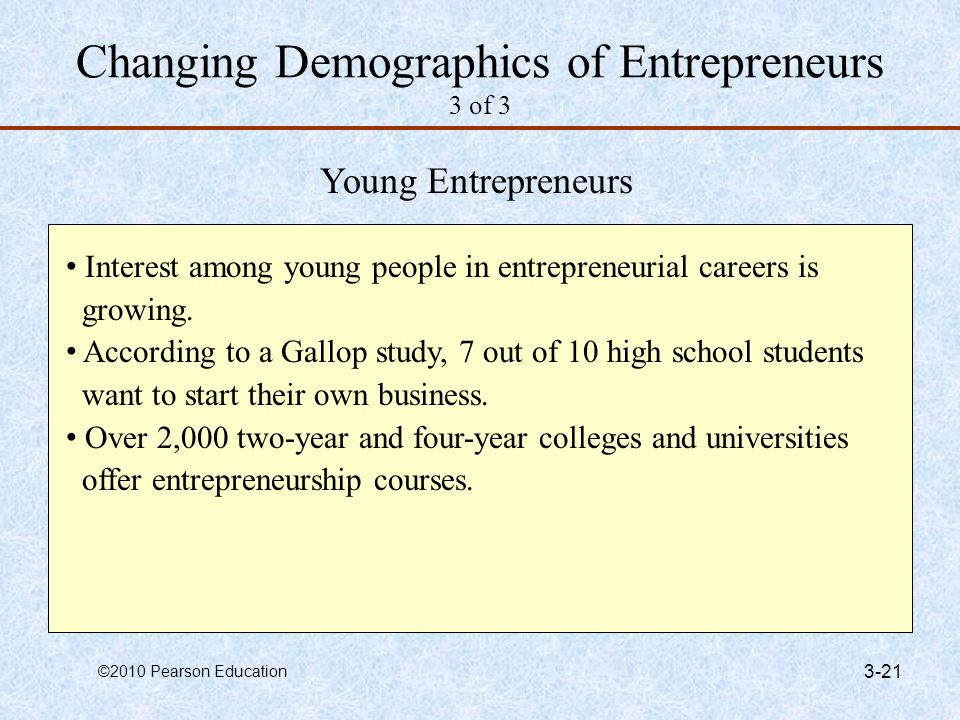 Changing Demographics of Entrepreneurs 3 of 3