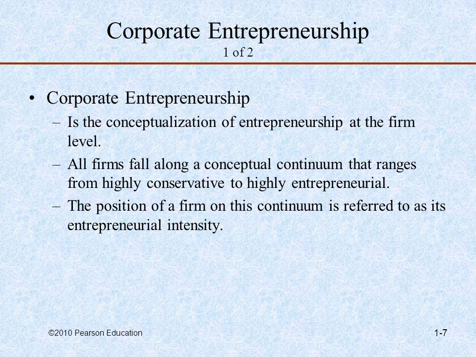 Corporate Entrepreneurship 1 of 2