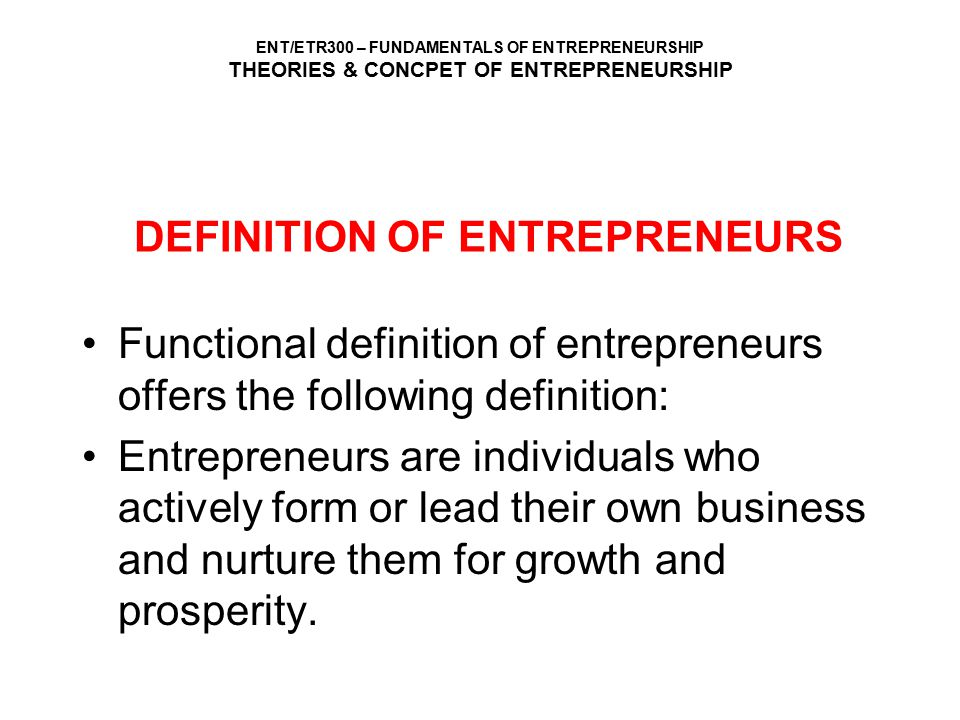 DEFINITION OF ENTREPRENEURS