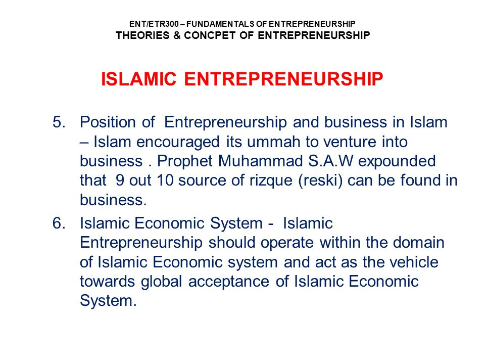 ISLAMIC ENTREPRENEURSHIP