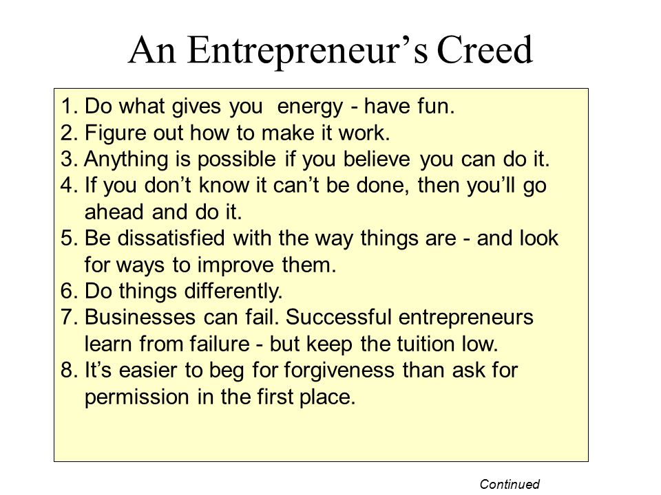 An Entrepreneur's Creed