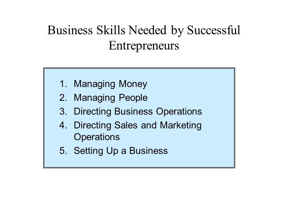Business Skills Needed by Successful Entrepreneurs