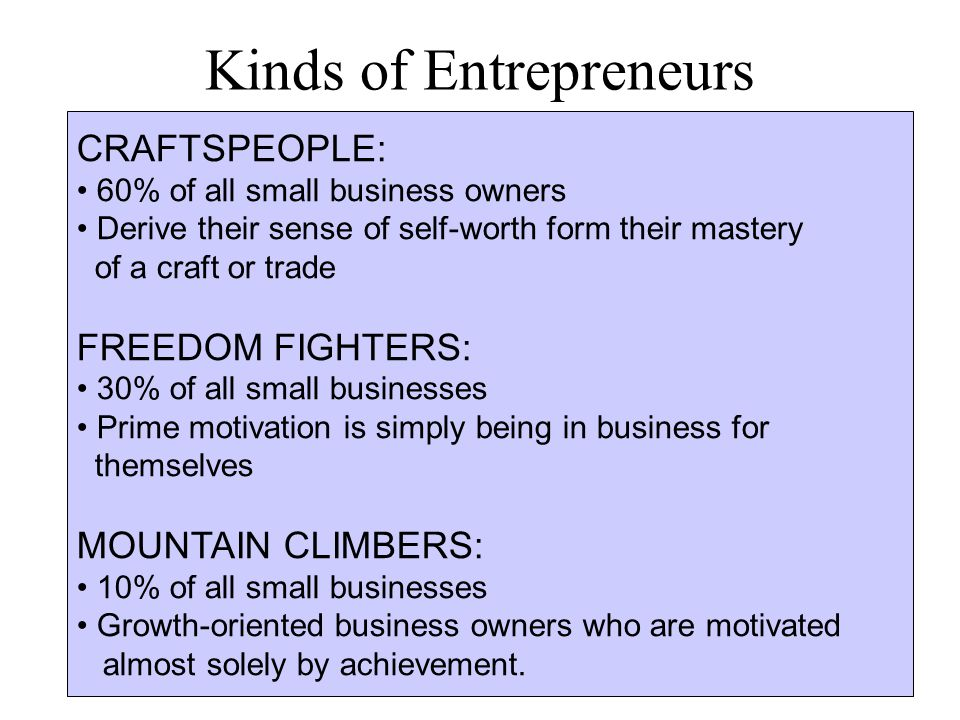 Kinds of Entrepreneurs