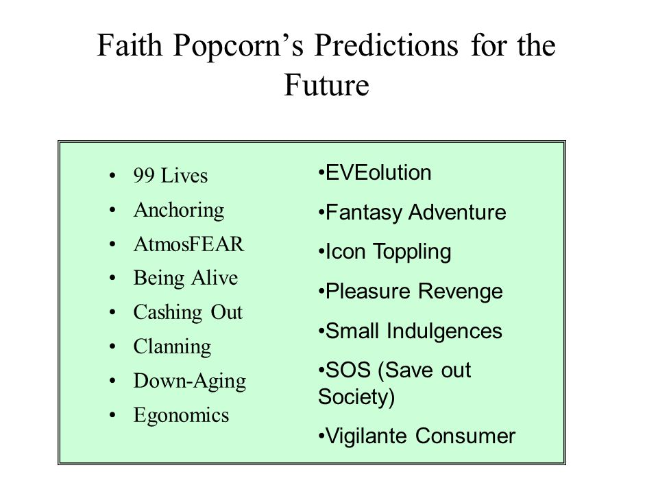 Faith Popcorn's Predictions for the Future