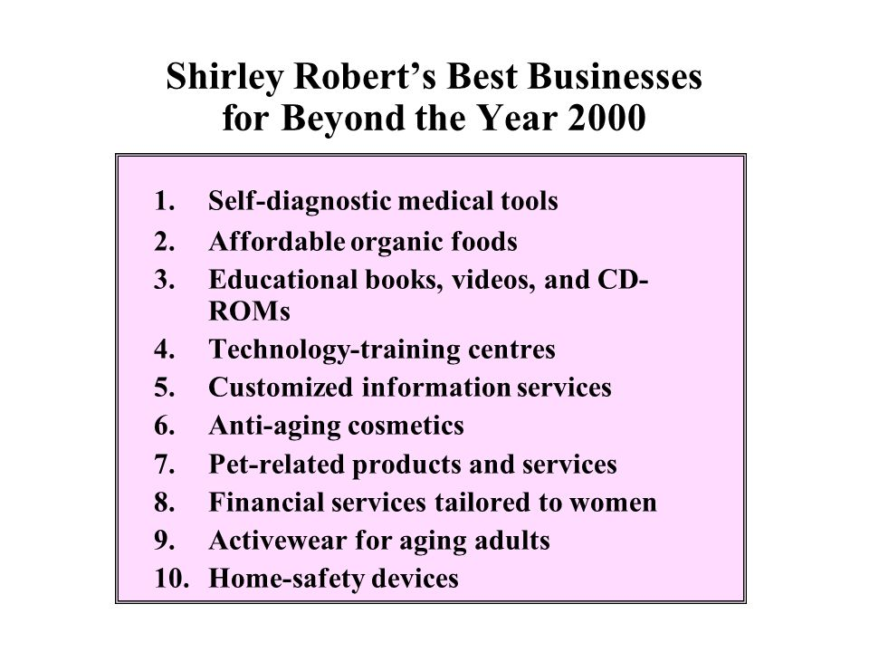 Shirley Robert's Best Businesses for Beyond the Year 2000