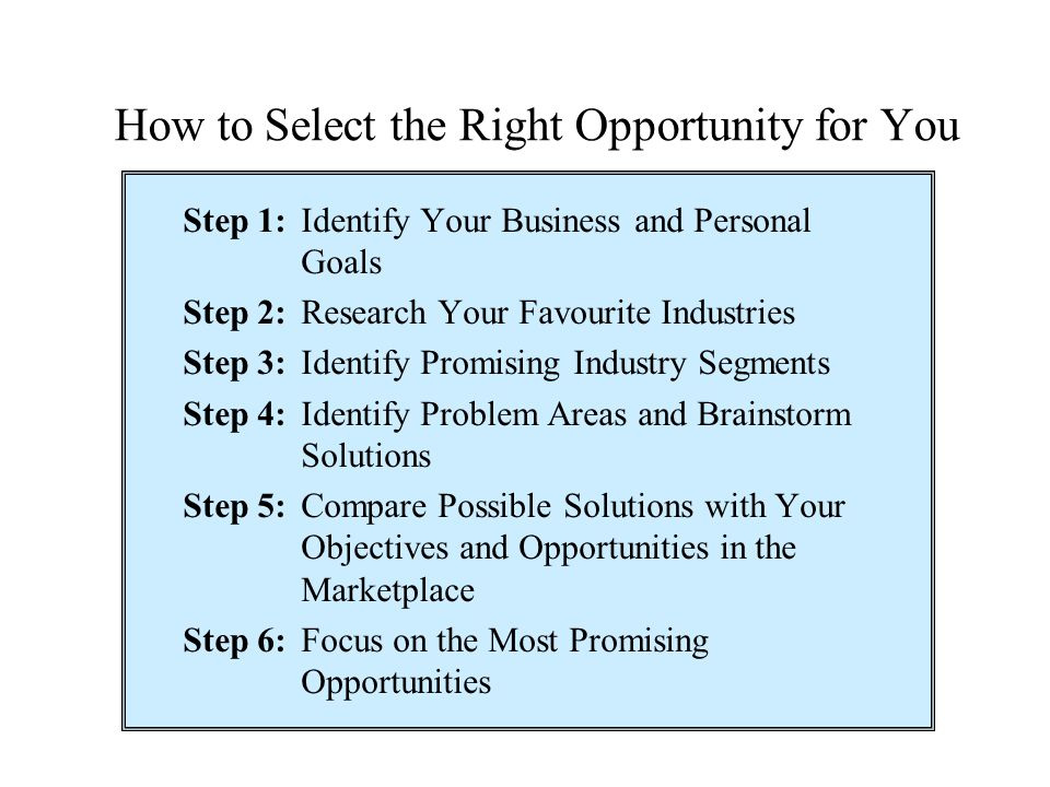 How to Select the Right Opportunity for You