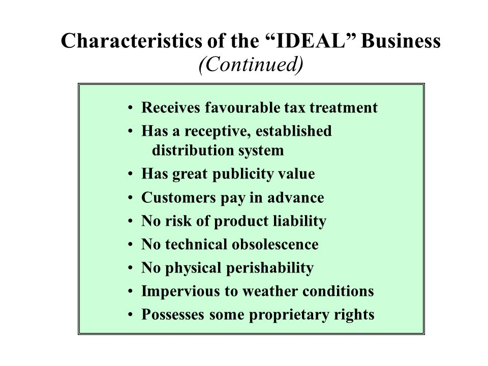 Characteristics of the IDEAL Business