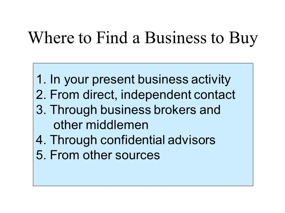 Where to Find a Business to Buy