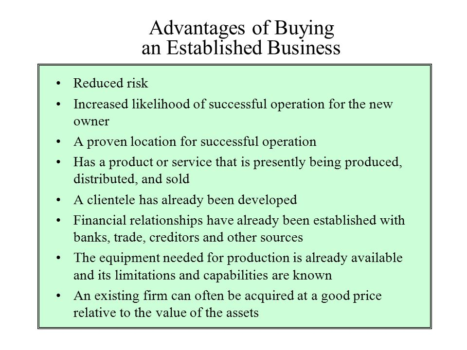 Advantages of Buying an Established Business
