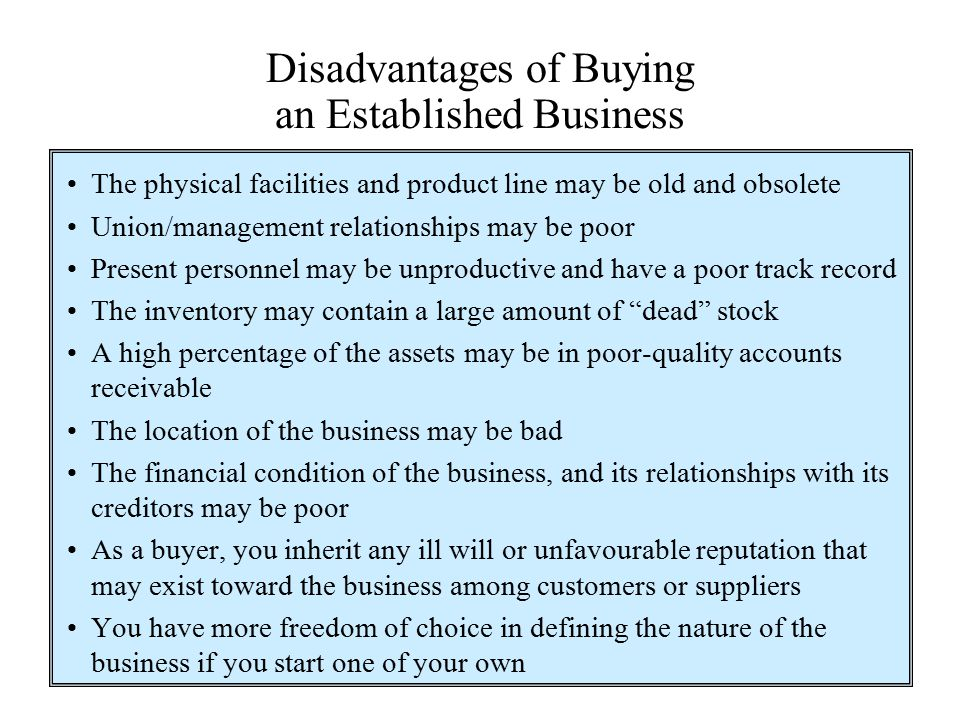 Disadvantages of Buying an Established Business