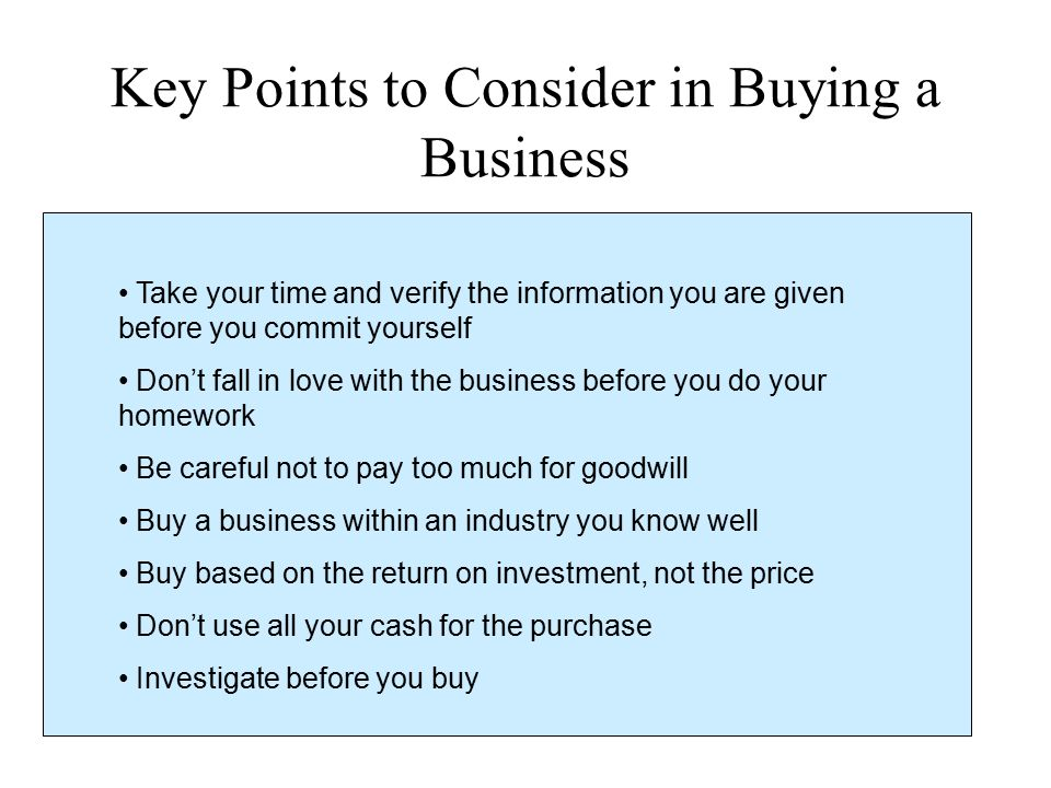 Key Points to Consider in Buying a Business
