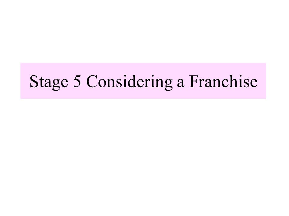 Stage 5 Considering a Franchise