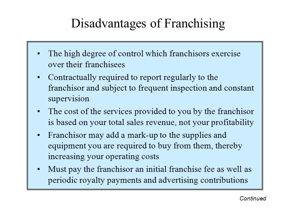 advantages and disadvantages of franchising Cant decide whether to franchise your business let harold kestenbaum franchise attorney help you make that decision give him a call today.