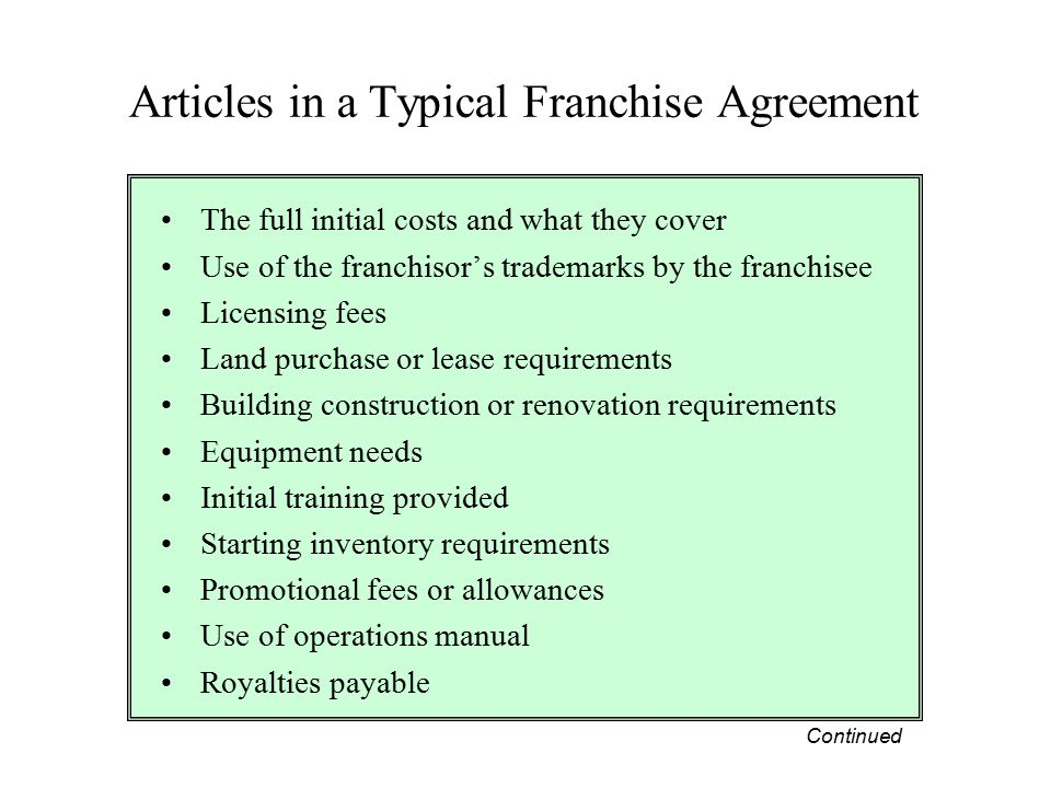Articles in a Typical Franchise Agreement
