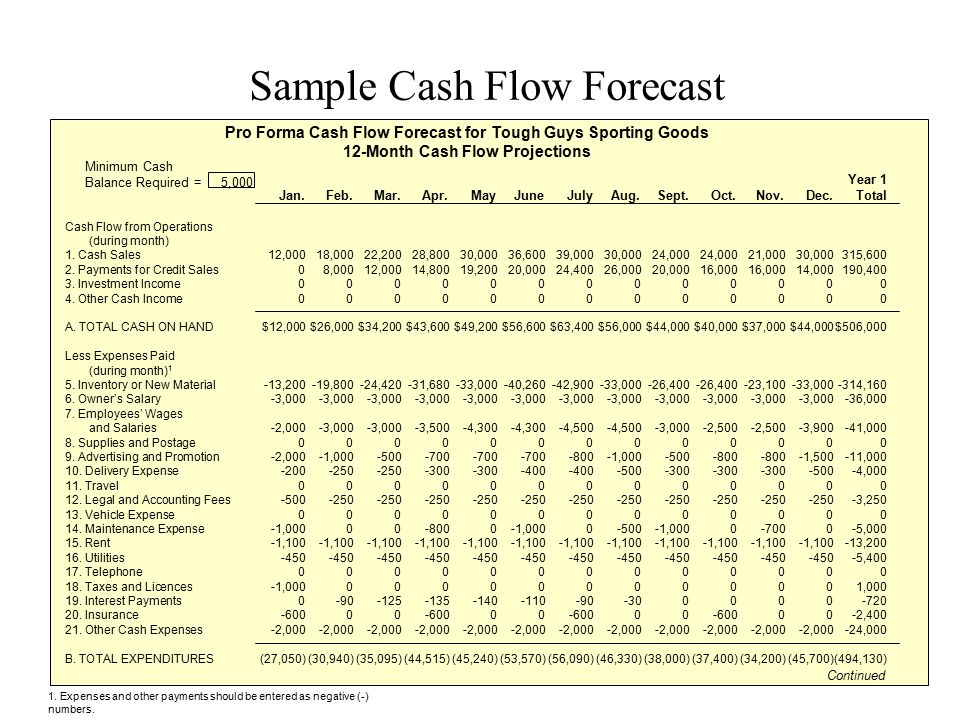 Sample Cash Flow Forecast