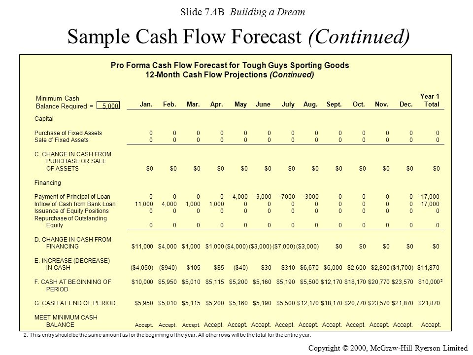 Sample Cash Flow Forecast (Continued)