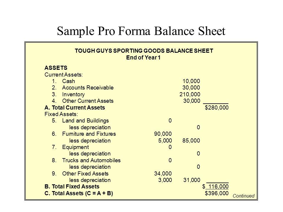 Sample Pro Forma Balance Sheet